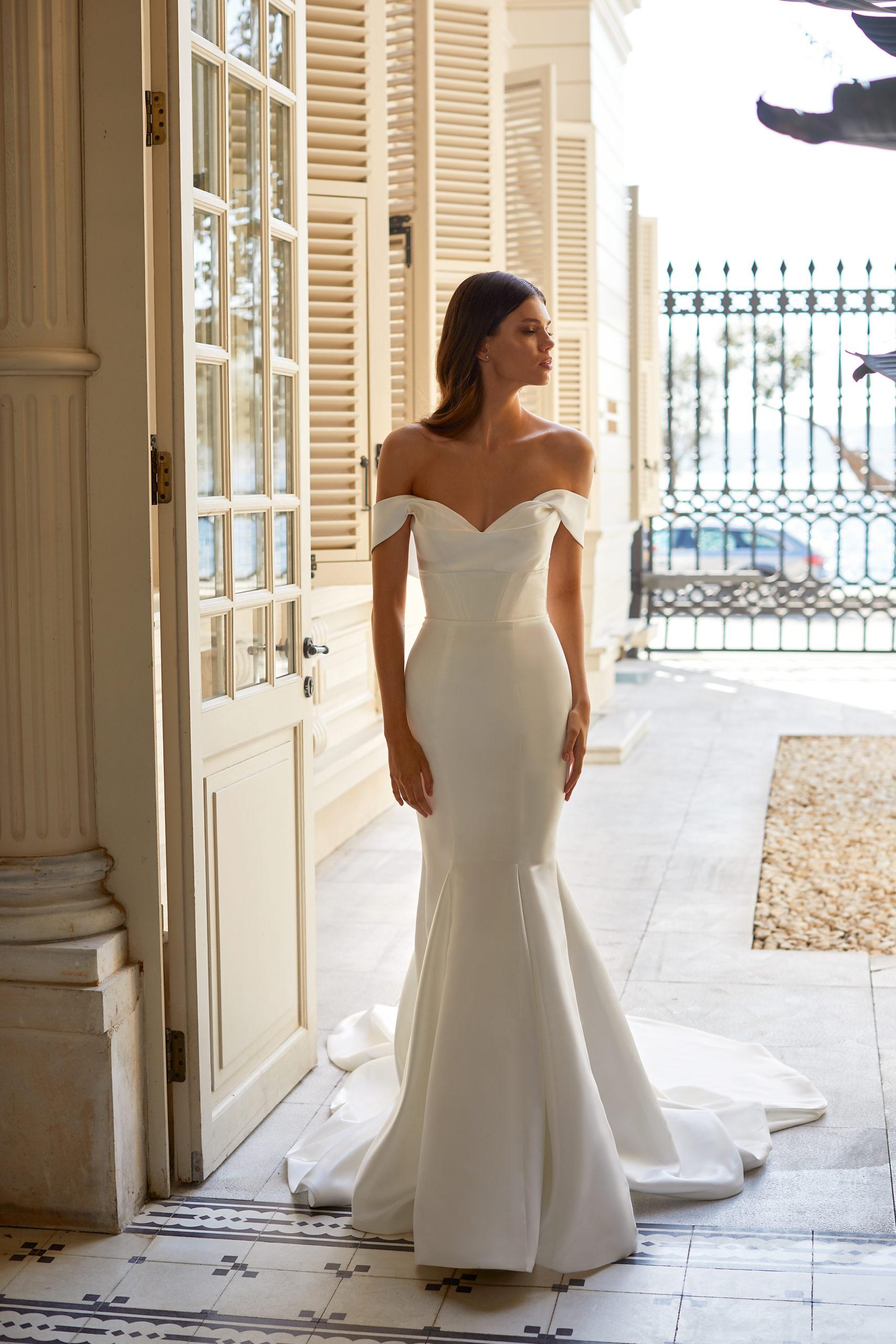 Sublimes robes de mariée à Genève sirène mikado satin tulle bustier simple classique moderne sophistiqué blanc élégante