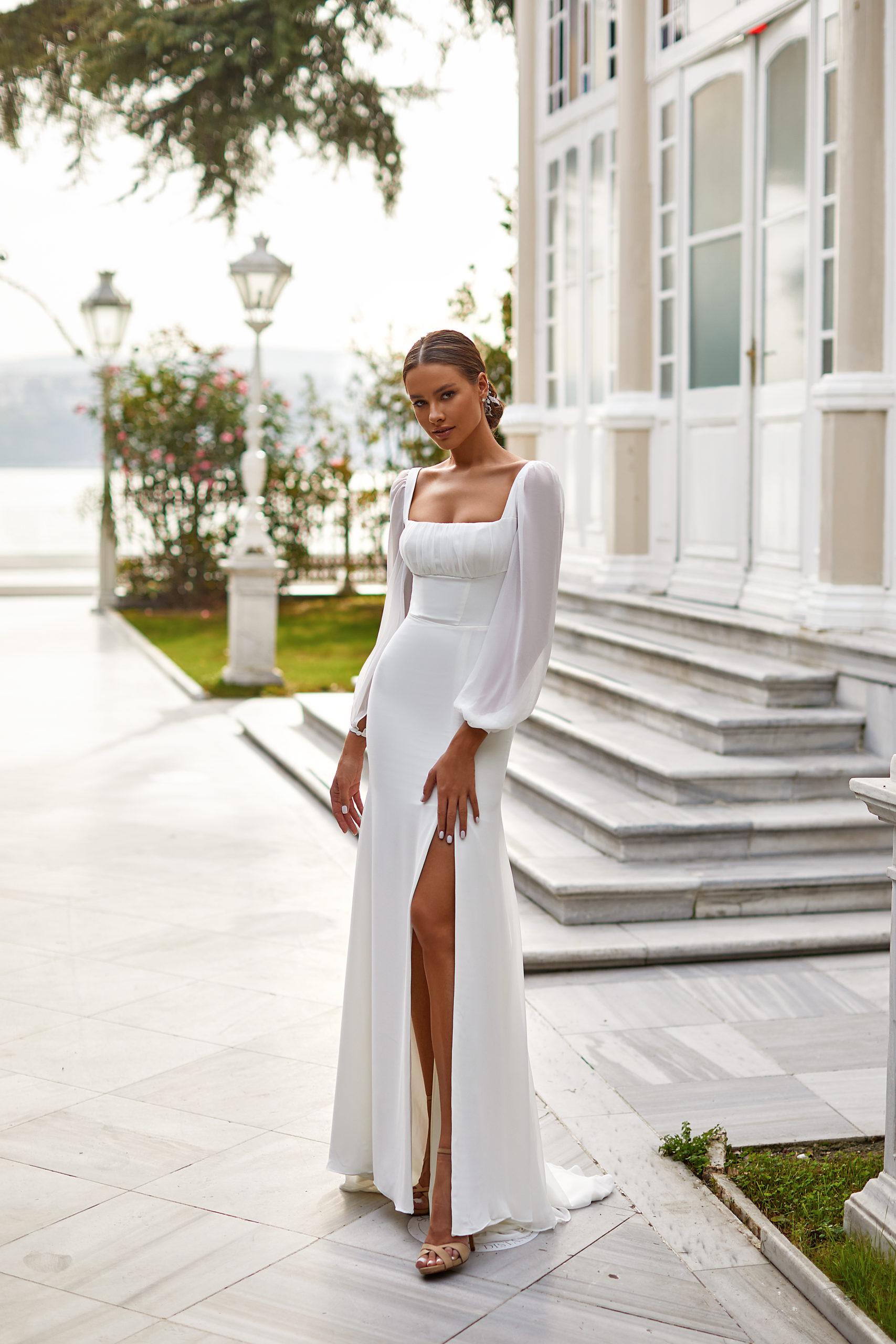 rey millanova white and lace genève bohème boho fendue col empire manches longues fluide