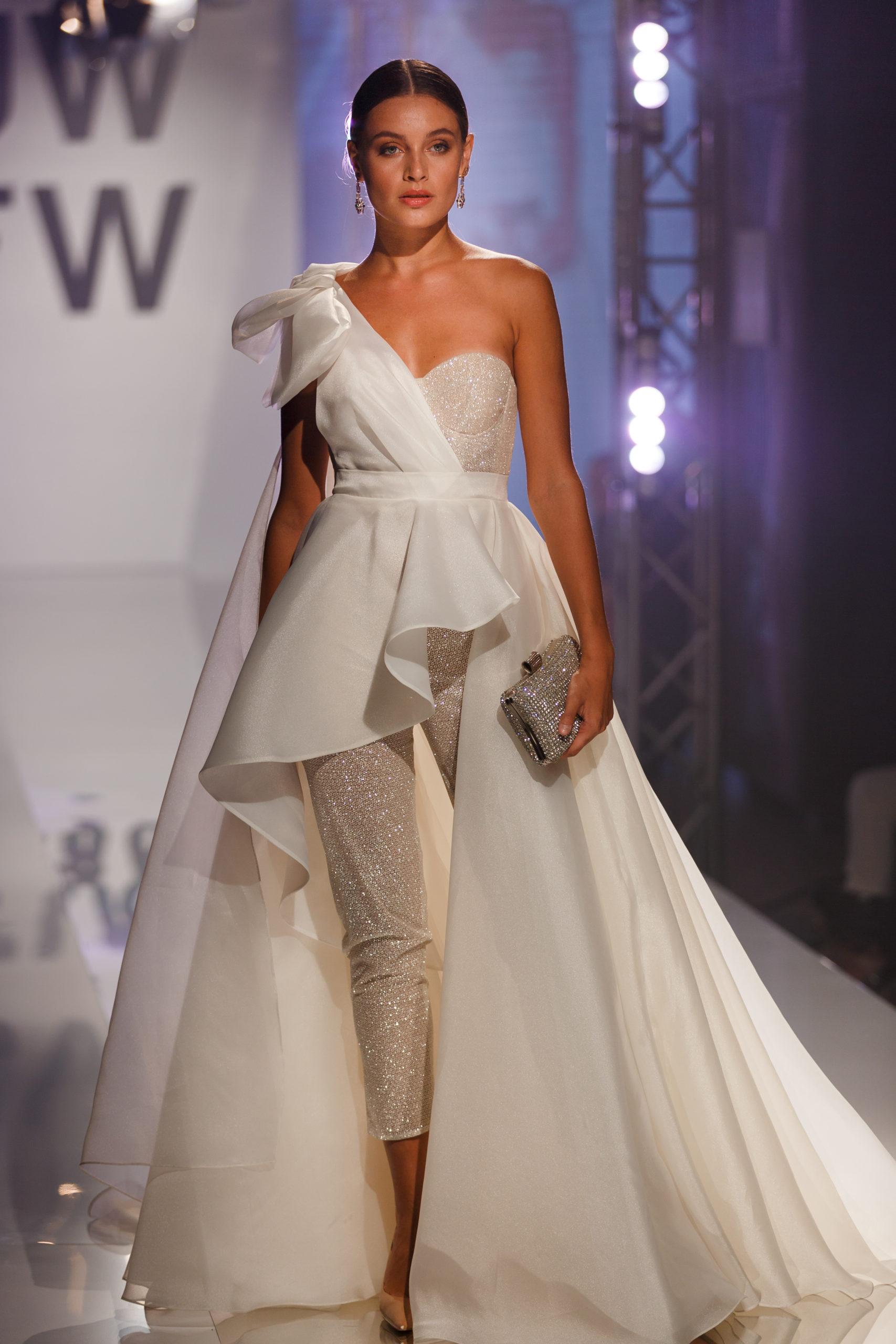 combinaison jumpsuit mariage civil glitter mariage geneve pantalon amovible noeud drapé satin organza geneve mariage suisse