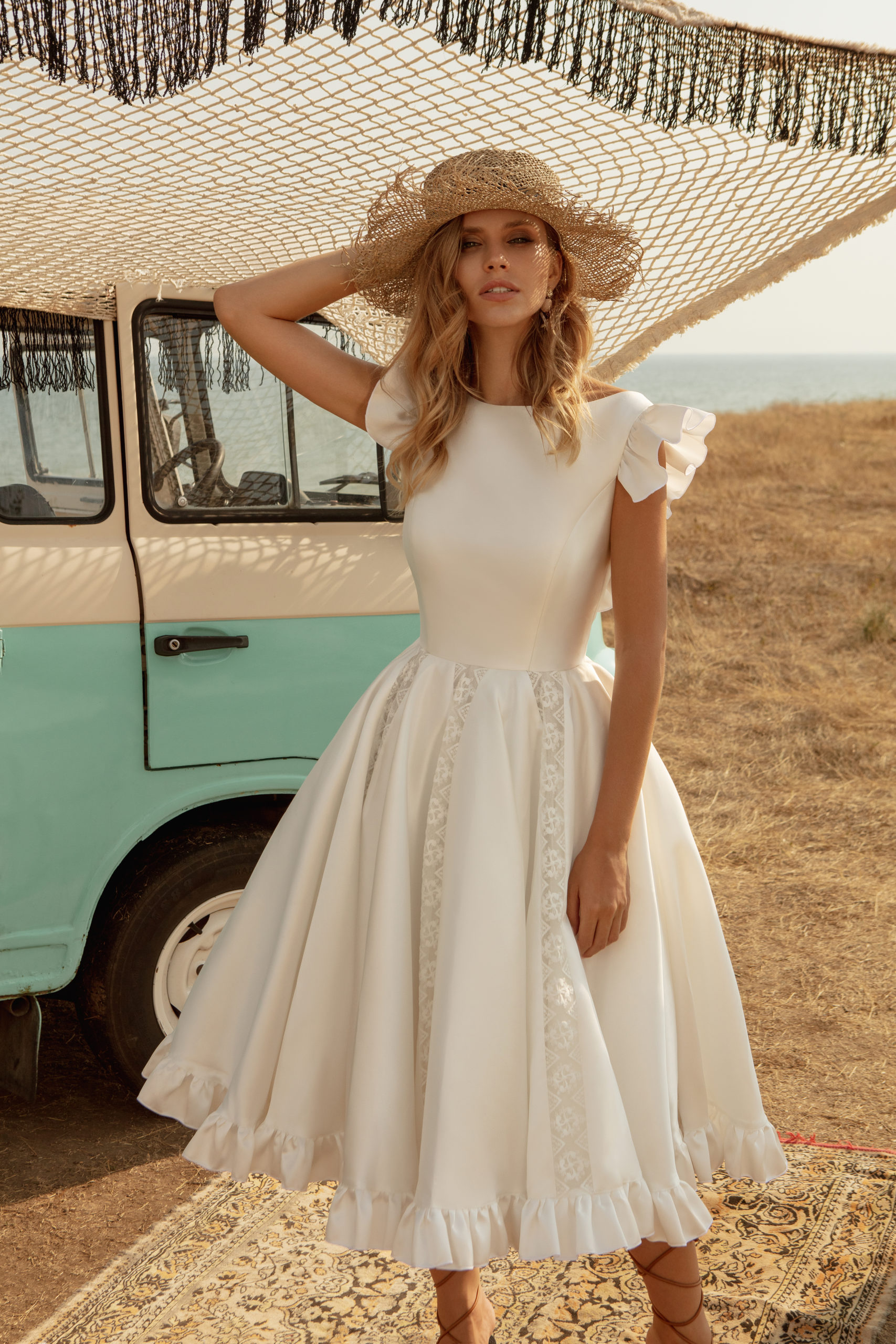 Robe de mariage civil blanche manches courtes ariamo