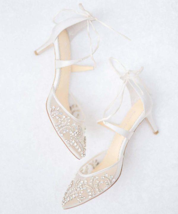 Chaussures de mariée Bellabelle Frances shoes blanc talon plates 6,5cm sandales escarpins strass confort satin