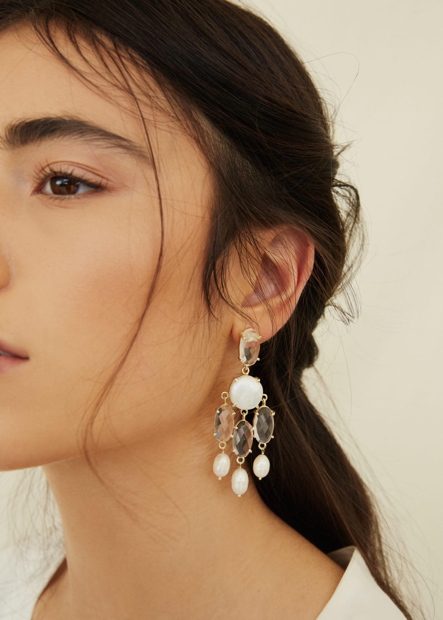 Bijoux accessoires de mariage Bo&luca callie boucles d'oreille longues doré accessoires bracelet coiffure cheveux précieux pierre