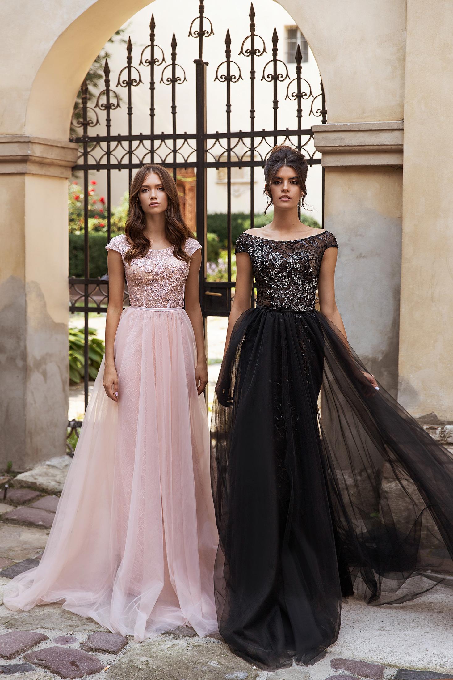 geneve robe fourreau sirène glitter tulle jupe amovible mariage soirée invitée chic sophistiquée noir strass