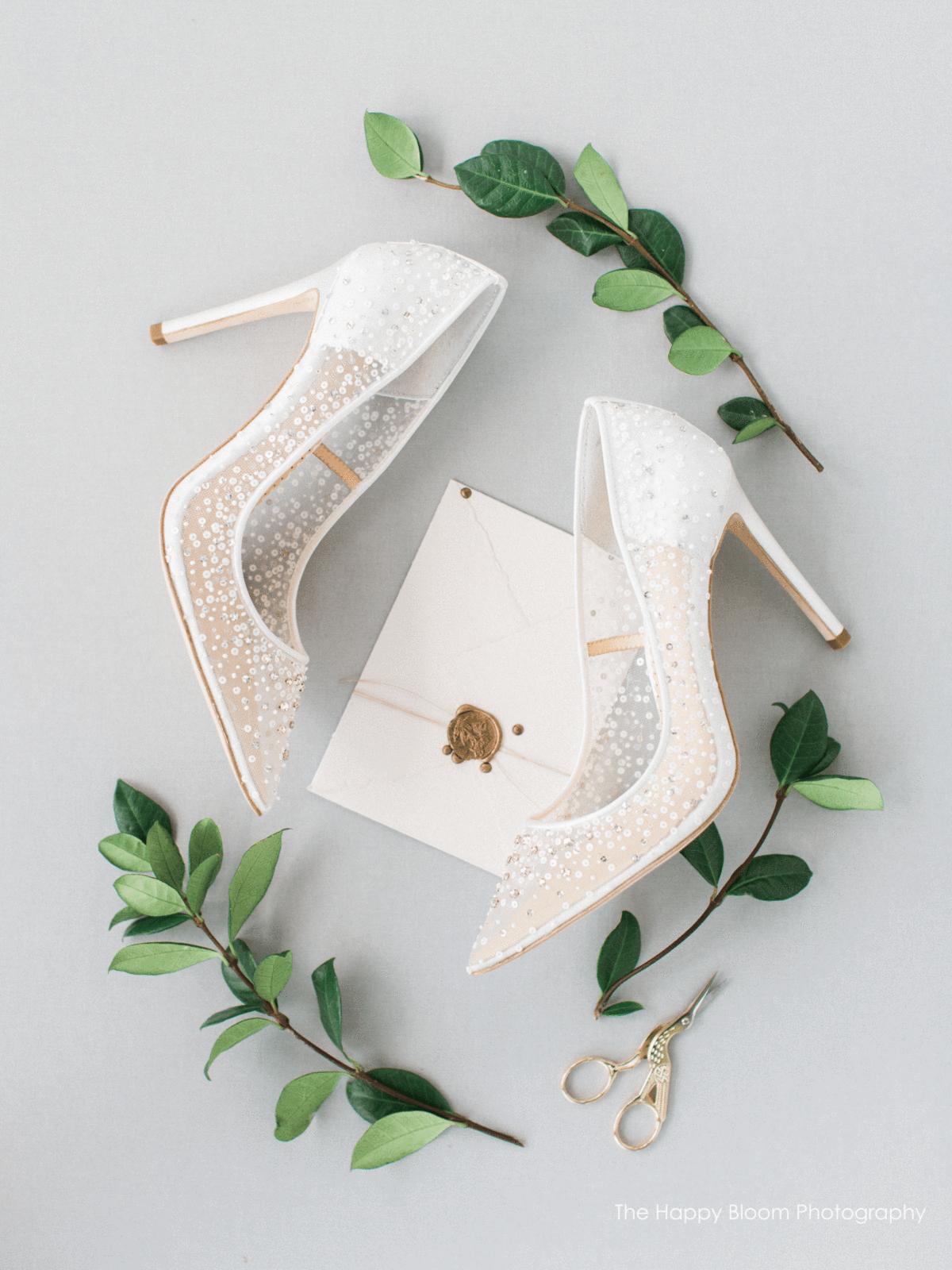 Escarpins bella belle shoes tulle sequin ivoire 10cm talon confortable stilleto satin