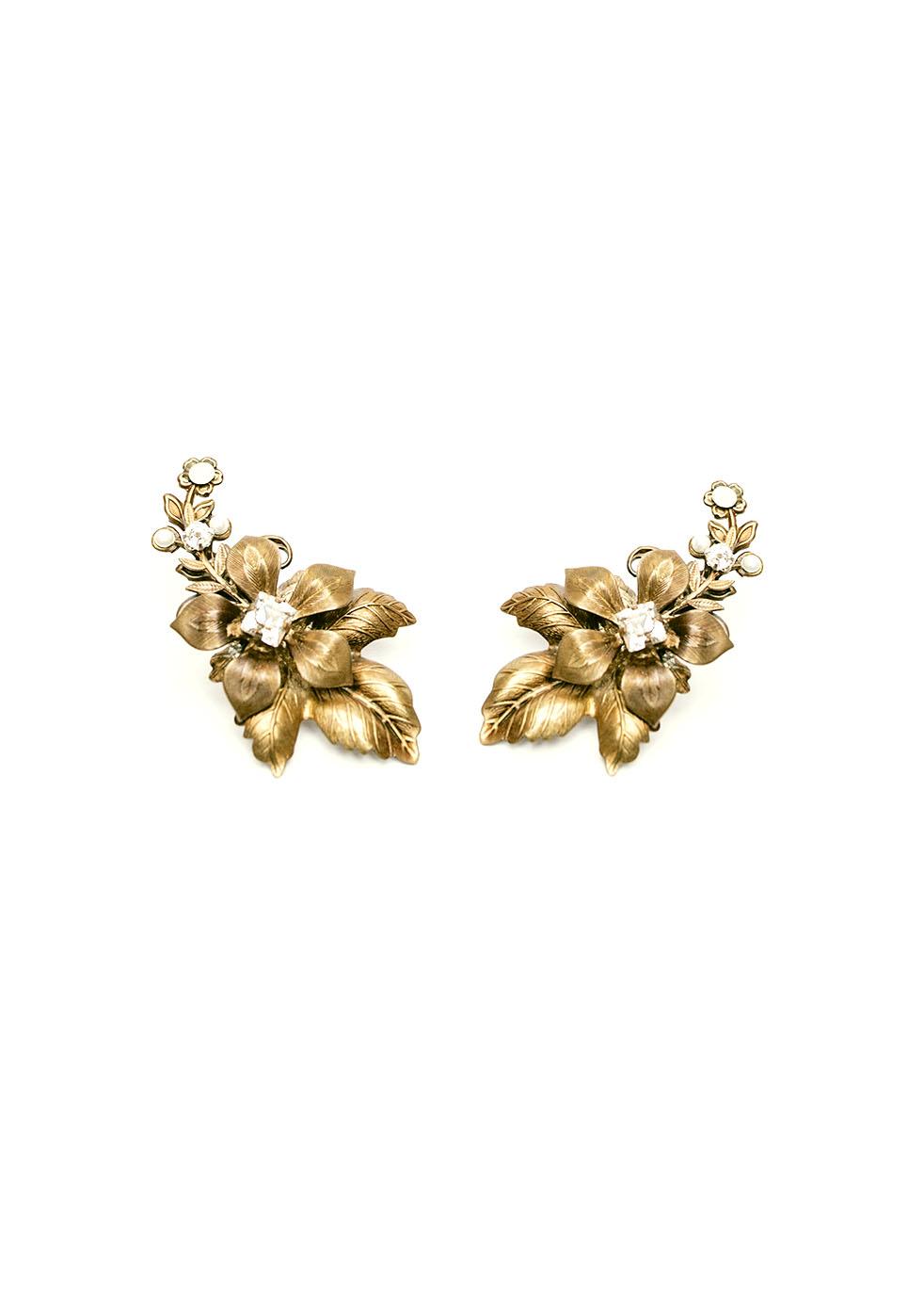 Accessoires cheveux mariée genève Cherrish Bijoux boucles d'oreille fleur strass doré bijoux luxe